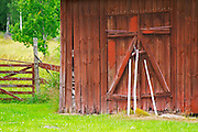 Traditional style Swedish wooden painted house. A door Barn Smaland region. Sweden, Europe.
