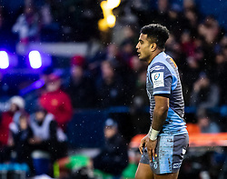Rey Lee-Lo of Cardiff Blues<br /> <br /> Photographer Simon King/Replay Images<br /> <br /> European Rugby Champions Cup Round 4 - Cardiff Blues v Saracens - Saturday 15th December 2018 - Cardiff Arms Park - Cardiff<br /> <br /> World Copyright © Replay Images . All rights reserved. info@replayimages.co.uk - http://replayimages.co.uk