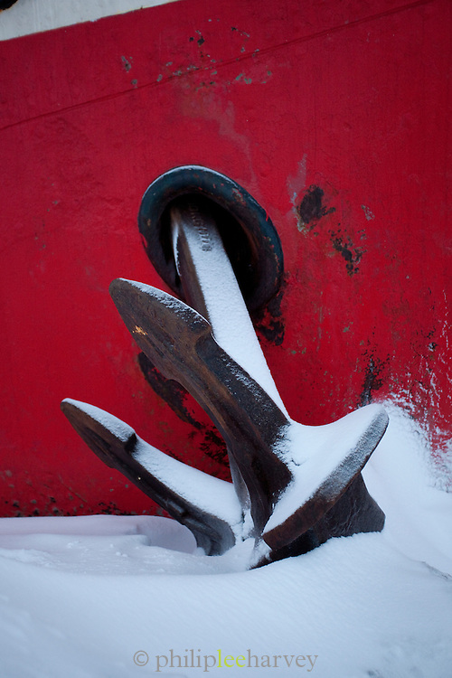 Anchor of the Noorderlicht, a Dutch Schooner. Each year the Nooderlicht is frozen into the ice in Spitsbergen, and serves as an excellent base camp in the wilderness, perfect for spotting polar bears. Spitsbergen is the largest island of the arctic archipelago Svalbard, of Norway
