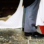 Low section of a bride and groom