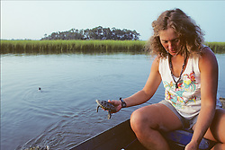 Nancy Releasing Diamondback Turtle