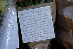 © Licensed to London News Pictures . 29/12/2018 . Wigan , UK . Tribute written from Billy's parents left at the scene where police have taped off a stretch of Bickershaw Lane in Abram . GMP report they have arrested two people on suspicion of attempted murder and for conspiracy to commit attempted murder , respectively , after a 21-year-old man , identified locally as Billy Livesley , sustained life-threatening injuries yesterday evening (Friday 28th December 2018) . Photo credit : Joel Goodman/LNP
