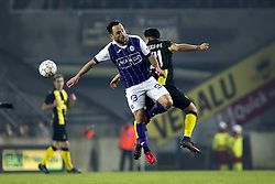 January 6, 2018 - Lier, BELGIUM - Beerschot's Alexander Maes and Lierse's Sabir Bougrine pictured during the soccer match between Lierse SK and KFCO Beerschot Wilrijk, in Lierse, Saturday 06 January 2018, on day 21 of the division 1B Proximus League competition of the Belgian soccer championship. BELGA PHOTO KRISTOF VAN ACCOM (Credit Image: © Kristof Van Accom/Belga via ZUMA Press)