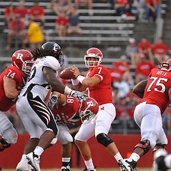 Sep 7, 2009; Piscataway, NJ, USA; Rutgers quarterback Tom Savage (7) makes a pass during the second half as Cincinnati defeats Rutgers 47-15 in NCAA Big East college football at Rutgers Stadium.