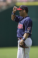 August 4, 2001 - Cleveland, Ohio - Cleveland Indians second baseman Roberto Alomar stands on the infield in a MLB game against the Seattle Mariners at Jacobs Field in Cleveland Ohio. Alomar was elected to the National Baseball Hall of Fame on Jan. 6, 2011.