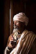 Portrait of Ethiopian priest in the Church of Abraha We Atsebeha. Ethiopia, Horn of Africa