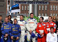 Motor<br /> Foto: Dppi/Digitalsport<br /> NORWAY ONLY<br /> <br /> WRC 2003 - FINLAND RALLY - JYVASKYLA 20030810<br /> <br /> PODIUM<br /> N¡ 4 - MARKKO MARTIN - MICHAEL PARK / FORD FOCUS WRC - AMBIANCE<br /> N¡ 7 - PETTER SOLBERG - PHILL MILLS / SUBARU IMPREZA WRC - <br /> N¡ 2 - RICHARD BURNS - ROBERT REID / PEUGEOT 206 WRC - <br /> MALCOLM WILSON / FORD - AMBIANCE - PORTRAIT<br /> <br /> PARK OMKOM UNDER RALLY WALES 18.09.2005