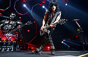 Paul Stanley of the rock band KISS performs during their concert at Bridgestone Arena Tuesday, April 9, 2019, in Nashville, TN.