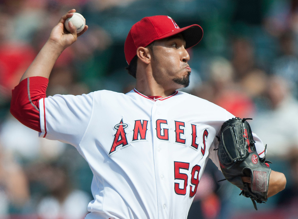 The Angels' Fernando Salas pitches in relief during the Angels' 8-3 loss to the Cleveland Indians Sunday at Angel Stadium.<br /> <br /> ///ADDITIONAL INFO:   <br /> <br /> angels.0612.kjs  ---  Photo by KEVIN SULLIVAN / Orange County Register  -- 6/12/16<br /> <br /> The Los Angeles Angels take on the Cleveland Indians Sunday at Angel Stadium.