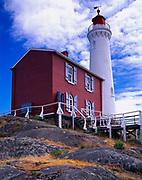 Fisgard Lighthouse, built in 1860, entrance to Esquimalt Harbour, oldest lighthouse on Canada's west coast, Fisgard Lighthouse National Historic Site, Victoria, British Columbia, Canada.