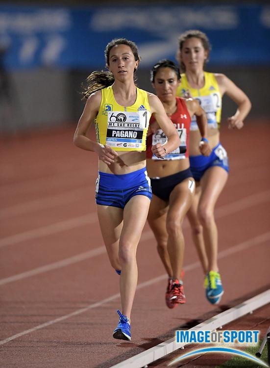 Apr 19, 2018; Torrance, CA, USA; Sarah Pagano runs in the women's 10,000m during the 60th Mt. San Antonio College Relays] at Murdock Stadium.