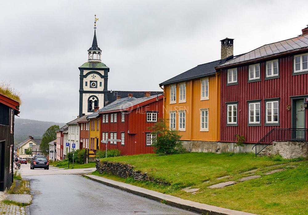Street in Röros, a town on the  UNESCO World Herritage list, in Tröndelag, Norway.