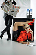 Think YOU are being overstretched in the office? Female contortionist brings new meaning to the term flexible working in incredible calendar shoot<br /> <br /> Blonde contortionist Julia Gunthel really means business.<br /> The bendy bombshell has released a calendar for 2013 featuring herself in a variety of incredible positions around an office set.<br /> Rubbery Russian Gunthel, who now lives in Germany and goes by the name of Zlata when performing, is pictured typing, answering the phone and making coffee all while bending her body in to unbelievable shapes.<br /> She is snapped operating a computer while performing a hand-stand, delivering a presentation with her head tucked between her thighs and even becoming a living table by bending over backwards for her boss.<br /> <br /> Zlata, the self-titled 'Goddess of Flexibility' produces her head-turning calendars by contorting her body with a different theme each year (this year was obviously eighties working girl) and previous themes have included Marie Antoinette and domestic goddess.<br /> She has a rare condition which makes all her tendons extremely pliable, and discovered her talent for contortion at the age of four.<br /> <br /> The 5ft 9ins blonde weighs eight-and-a-half stone and spends most of her day working out and training for shows around the world.<br /> <br /> One of her favourite acts is bending herself backwards at a perfect 90 degree angle, virtually cutting herself in half so the back half of her hands touch her feet.<br /> <br /> Her talents also include squeezing herself into boxes just 50cm squared.<br /> <br /> Zlata, who has ambitions to head to Hollywood to turn her hand/head/legs to acting, has previously said: 'Doing these poses just feels natural to me. Sometimes it can get a bit uncomfortable if I have to hold a pose for a long time in photoshoots.<br /> <br /> 'But I think that's like anyone who sits down for a long time – their muscles get stiff.<br />  <br /> 'I don't really diet but I have to train very hard to keep my muscles in shape and to be as flexible as possible.'<br /> ©Zelta/Exclusiv