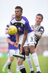 East Fife's Nathan Austin tackled by Elgin City's Daryl McHardy. <br /> East Fife 2 v 1 Elgin City, Ladbrokes Scottish Football League Division Two game played 22/8/2015 at East Fife's home ground, Bayview Stadium.