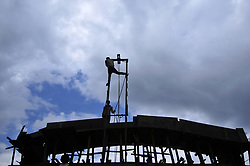 June 30, 2017 - Kathmandu, NP, Nepal - Migrant works from India, installing concrete mixer machine for the construction at Kirtipur, Kathmandu, Nepal on Friday, June 30, 2017. (Credit Image: © Narayan Maharjan/NurPhoto via ZUMA Press)