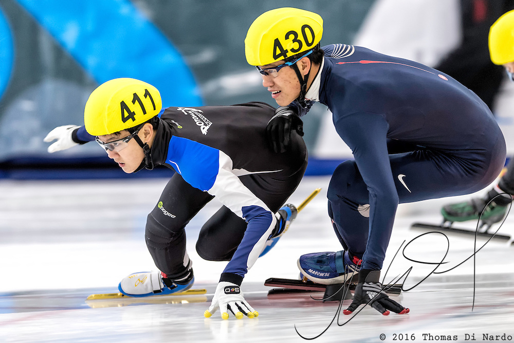 December 17, 2016 - Kearns, UT - Andrew Kim and Chiyuan Zhong skate during US Speedskating Short Track Junior Nationals and Winter Challenge Short Track Speed Skating competition at the Utah Olympic Oval.
