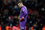 Jack Butland , the goalkeeper of Stoke City looks dejected at the final whistle. Premier league match, Tottenham Hotspur v Stoke City at Wembley Stadium in London on Saturday 9th December 2017.<br /> pic by Steffan Bowen, Andrew Orchard sports photography.
