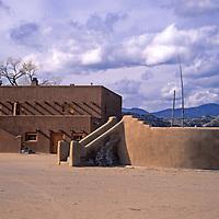 USA, New Mexico, Santa Fe. The central kiva at San Ildefonso Pueblo.