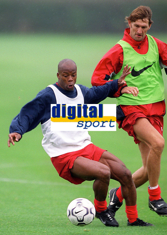 Sylvian Wiltord and Tony Adams during Arsenal training, pre Champions League match against Shakhtar Donetsk, Hertfordshire,19/9/2000. Credit: Colorsport / Stuart MacFarlane.