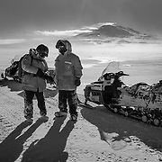 Mike Lucibella and Ralph Maestas stopping for a safety check in route to Scott's Terra Nova Hut at Cape Evans. We stopped frequently to check on each other, adding hand warmers to our gloves to keep fingers from freezing, and covering any exposed skin on our faces. I shot a few photographs on the way over, but because of the low temperatures my camera batteries died within 5 minutes of putting them in the camera.