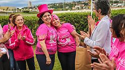 Mulheres da Confraria do Chapéu e da Chapéus do Bem, do Jockey Club do RS, celebram parceria com o IMAMA, Instituto da Mama, para chamar atenção à causa do cancêr de mama e convidar para a tradicional Marcha das Vitoriosas, que ocorrerá na manhã de domingo 23/10, no Parcão. FOTO: Jefferson Bernardes/ Agência Preview