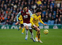Football - 2019 / 2020 Premier League - Burnley vs. Arsenal<br /> <br /> Hector Bellerín of Arsenal cuts off the run of Dwight McNeil of Burnley, at Turf Moor.<br /> <br /> <br /> COLORSPORT/ALAN MARTIN