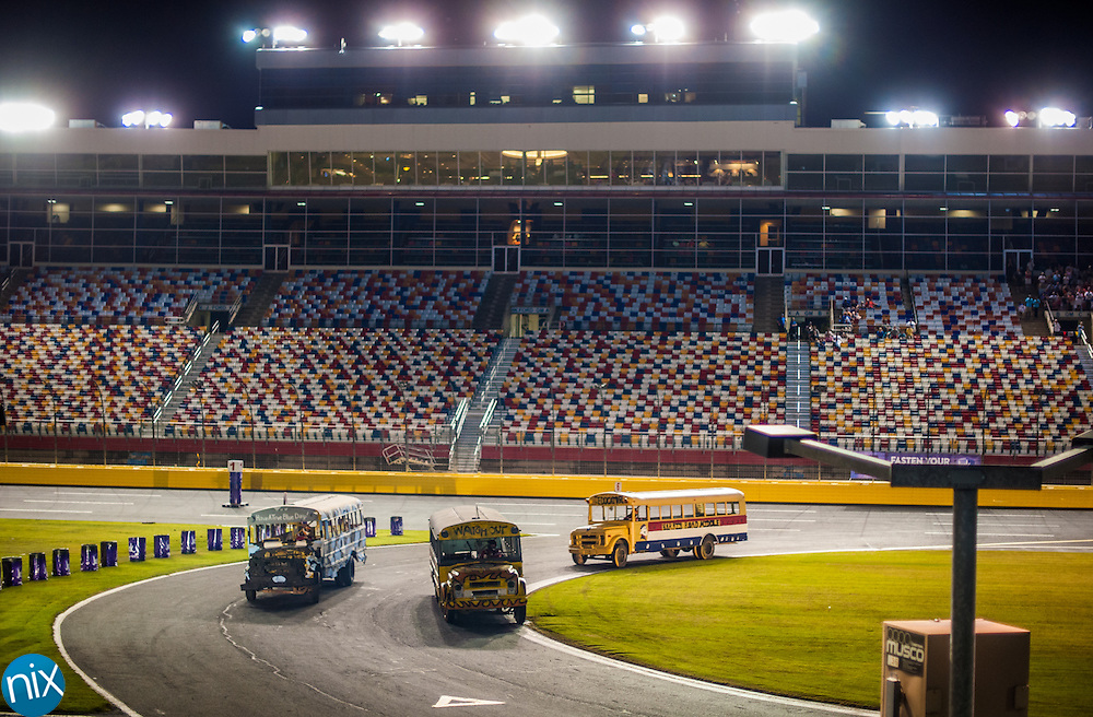 The Principal School Bus Slobberknocker at Charlotte Motor Speedway Tuesday night during the Summer Shootout.