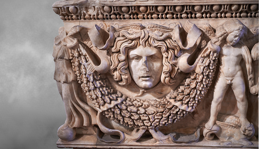 Roman relief garland  sculpted sarcophagus, style typical of Pamphylia, 3rd Century AD, Konya Archaeological Museum, Turkey. .<br /> <br /> If you prefer to buy from our ALAMY STOCK LIBRARY page at https://www.alamy.com/portfolio/paul-williams-funkystock/greco-roman-sculptures.html . Type -    Konya     - into LOWER SEARCH WITHIN GALLERY box - Refine search by adding a subject, place, background colour, museum etc.<br /> <br /> Visit our ROMAN WORLD PHOTO COLLECTIONS for more photos to download or buy as wall art prints https://funkystock.photoshelter.com/gallery-collection/The-Romans-Art-Artefacts-Antiquities-Historic-Sites-Pictures-Images/C0000r2uLJJo9_s0