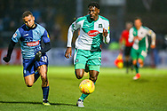 Plymouth Argyle forward Freddie Ladapo (19) gets past Wycombe Wanderers midfielder Curtis Thompson(18) during the EFL Sky Bet League 1 match between Wycombe Wanderers and Plymouth Argyle at Adams Park, High Wycombe, England on 26 January 2019.