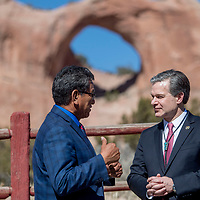 Navajo Nation President Russell Begaye, left, speaks with FBI Director Christopher Wray outside the Office of the President and Vice President in Window Rock Friday.