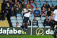 Tottenham's Jermain Defoe celebrates after he scores the 1st goal. Capital one cup 3rd round match, Aston Villa v Tottenham Hotspur at Villa Park in Birmingham on Tuesday 24th Sept 2013. pic by Andrew Orchard, Andrew Orchard sports photography.