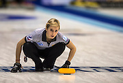 """Glasgow. SCOTLAND. Russia's, Galina ARSENKINA, during the   """"Round Robin"""" Games. Le Gruyère European Curling Championships. 2016 Venue, Braehead,  Scotland<br /> Monday  21/11/2016<br /> <br /> [Mandatory Credit; Peter Spurrier/Intersport-images]"""