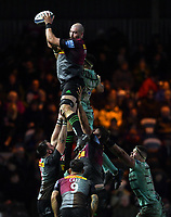Rugby Union - 2019 / 2020 Gallagher Premiership - Harlequins vs. Gloucester<br /> <br /> Harlequins' Matt Symons claims the lineout, at The Stoop.<br /> <br /> COLORSPORT/ASHLEY WESTERN
