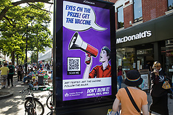 A London Borough of Hounslow Covid-19 public information display urges residents to be vaccinated amid rising concern regarding the Delta variant on 17th July 2021 in Hounslow, United Kingdom. The UK government is currently still expected to lift almost all restrictions on social contact on 19th July, known as 'Freedom Day', but the current wave driven by the Delta variant is not expected to peak until mid-August.