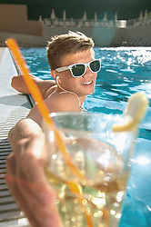 Swimming pool sunglasses holiday relaxing teenager