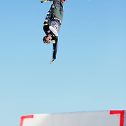 Dylan Ferguson performs aerial acrobatics during the 2009 Sprint US Freestyle Championships held at the Utah Olympic Park in Park City on March 8, 2009.
