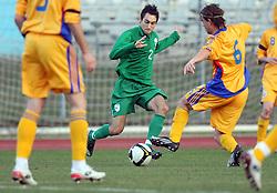 Ales Majer (2)  of Slovenia vs Eric Bicfalvi of Romania during Friendly match between U-21 National teams of Slovenia and Romania, on February 11, 2009, in Nova Gorica, Slovenia. (Photo by Vid Ponikvar / Sportida)