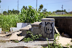 26 August 2015. New Orleans, Louisiana. <br /> Hurricane Katrina revisited. <br /> All that remains of a former home in the Lower 9th Ward following the devastating floods of hurricane Katrina a decade earlier.<br /> Photo credit©; Charlie Varley/varleypix.com.