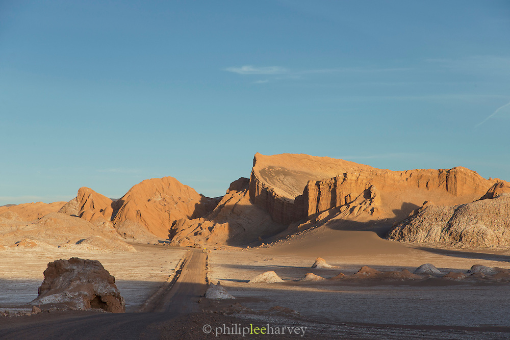 Road leading into the Valley of the Moon, Atacama Desert. Chile, South America