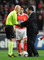 20100125: LISBON, PORTUGAL - 7th Charity Football Match against Poverty: SL Benfica All Stars vs Zidane & Kaka Friends. All the money rose from ticket sales and donations will go to the victims of Haiti Earthquake. In picture: Pierluigi Collina, Eusebio and Nuno Gomes. PHOTO: Alexandre Pona/CITYFILES