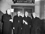 "09/10/1956<br /> 10/09/1956<br /> 09 October 1956<br /> <br /> Most Reverend Dr Bishop Lucey of Cork delivers a lecture in Fr Matthew Hall for Centenary<br /> 10/10/1956<br /> <br /> Cornelius ""Con"" Lucey (1902–82) was a Roman Catholic Bishop of Cork and Ross.<br /> <br /> Cornelius Lucey was born into a farming family at Carrigrohane, near Cork City. He studied at St Finbarr's College, Farranferris, the diocesan college. He graduated from St Patrick's College, Maynooth with BC and BCL, and obtained MAs at Innsbruck University in 1927–29 and then University College Dublin.<br /> <br /> Lucey was ordained a priest in 1927. He held the Chair of Philosophy and Political Theory at St. Patrick's College, Maynooth, from 1929 to 1950. He was one of the founders of Christus Rex, a priest's society devoted to social issues, on which he was a prominent commentator. In 1951 he was appointed bishop of the diocese of Cork, from 1958 united to the Diocese of Ross. He founded the St. Anne's Adoption Society in 1954. His outspoken sermons, often given at confirmations, made him something of a thorn in the side of the establishment. His views on matters of faith and morals were conservative, and he was involved in a controversy in the 1960s, when he withdrew the diocesan faculties of Father James Good, a lecturer at University College, Cork, for publicly dissenting from the teaching of Pope Paul VI. He started the Cork diocesan mission to Peru, and many priests from Cork ministered there from 1961.<br /> <br /> Lucey retired as bishop in 1980, in the early stages of leukemia. He went to the Turkana District in Kenya to work as an ordinary curate with Good, who had gone there some years earlier.<br /> <br /> <br /> After nearly two years in Kenya he became seriously ill. He was flown back to Cork in September 1982 and died within days.<br /> <br /> In 1985, as part of the Cork 800 festival, a site between Grand Parade and South Main Street was developed into an urban park named ""Bishop Lucey Park""."