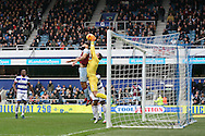 Mile Jedinak of Aston Villa is denied by a save from goalkeeper Alex Smithies of Queens Park Rangers (R). EFL Skybet championship match, Queens Park Rangers v Aston Villa at Loftus Road Stadium in London on Sunday 18th December 2016.<br /> pic by Steffan Bowen, Andrew Orchard sports photography.
