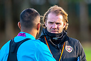 Heart of Midlothian manager Robbie Neilson speaks with Loic Damour (#22) of Heart of Midlothian FC during the Heart of Midlothian press conference and training session at Oriam Sports Performance Centre, Edinburgh, Scotland on 23 November 2020.