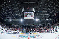 KELOWNA, CANADA - SEPTEMBER 24: The Kelowna Rockets  line up against the Kamloops Blazers for the regular season home opener and have a moment of silence for scorekeeper Norbert Heinzelman on September 24, 2016 at Prospera Place in Kelowna, British Columbia, Canada.  (Photo by Marissa Baecker/Shoot the Breeze)  *** Local Caption *** Norbert Heinzelman;