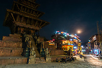 Nyatapola  Pagoda with a full moon in the background, Taumadhi Square, Bhaktapur, Kathmandu Valley, Nepal.