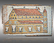 Roman mosaic of a Church with Towers, Eastern Mediterranean, 5th century AD. The church has three naves and is represented in a 'flattened Perspective' as can be seen by the facade and along sides forming a straight continuous line. The mosaic shows the architecture of early Roman Chriatian Basilicas. Inv 3676, The Louvre Museum, Paris .<br /> <br /> If you prefer to buy from our ALAMY PHOTO LIBRARY  Collection visit : https://www.alamy.com/portfolio/paul-williams-funkystock/roman-mosaic.html - Type -   Louvre    - into the LOWER SEARCH WITHIN GALLERY box. Refine search by adding background colour, place, museum etc<br /> <br /> Visit our ROMAN MOSAIC PHOTO COLLECTIONS for more photos to download  as wall art prints https://funkystock.photoshelter.com/gallery-collection/Roman-Mosaics-Art-Pictures-Images/C0000LcfNel7FpLI .