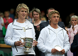 LONDON, ENGLAND - Saturday, July 2, 2011: Boys' Singles Champion Luke Saville (AUS) and runner-up Liam Broady (GBR) with their trophies after the Final on day twelve of the Wimbledon Lawn Tennis Championships at the All England Lawn Tennis and Croquet Club. (Pic by David Rawcliffe/Propaganda)