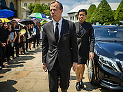 14 OCTOBER 2016 - BANGKOK, THAILAND:  GLYN T. DAVIES, the US Ambassador to Thailand, walks to the Sahathai Samakom Pavilion in the Grand Palace to pay respects to Bhumibol Adulyadej, the King of Thailand, who died Oct. 13, 2016. He was 88. His death comes after a period of failing health. With the king's death, the world's longest-reigning monarch is Queen Elizabeth II, who ascended to the British throne in 1952. Bhumibol Adulyadej, was born in Cambridge, MA, on 5 December 1927. He was the ninth monarch of Thailand from the Chakri Dynasty and is known as Rama IX. He became King on June 9, 1946 and served as King of Thailand for 70 years, 126 days. He was, at the time of his death, the world's longest-serving head of state and the longest-reigning monarch in Thai history.    PHOTO BY JACK KURTZ