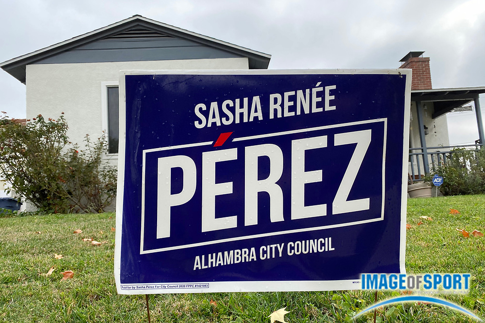 A sign endorsing the election of Sasha Renee Perez for Alhambra City Council, Saturday, Sept. 26, 2020, in Alhambra, Calif.