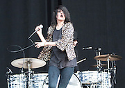 The Dead Weather featuring Alison Mosshart (lead vocals, guitar, percussion), Jack White (lead vocals, drums, guitar), Dean Fertita (guitar, organ, piano, synthesizer, bass, backing vocals) and Jack Lawrence (bass, guitar, drums, backing vocals) performs on the third day of the 2010 Bonnaroo Music & Arts Festival on June 12, 2010 in Manchester, Tennessee. The four-day music festival features a variety of musical acts, arts and comedians..Photo by Bryan Rinnert/3Sight Photography
